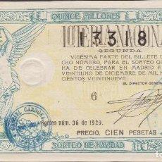 Lotería Nacional: LOTERIA NACIONAL - SORTEO - 36 - 1929 - (EBC) - VALENCIA. Lote 219983428