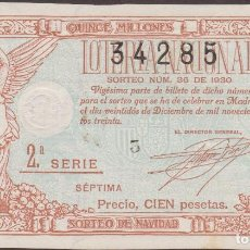 Lotería Nacional: LOTERIA NACIONAL - SORTEO - 36 - 1930 - SERIE 2ª FRACCIÓN 7ª (EBC) ZARAGOZA. Lote 219983901