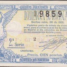 Lotería Nacional: LOTERIA NACIONAL - SORTEO - 36 - 1931 - SERIE 2ª FRACCIÓN 11ª - ZARAGOZA. Lote 219984370