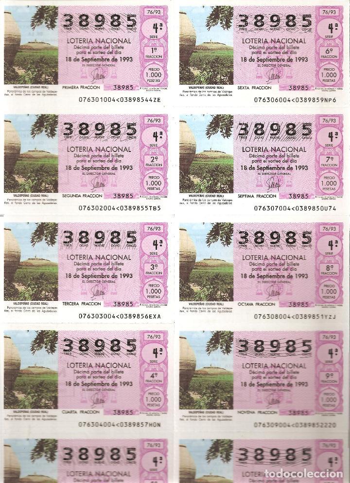 1993 BILLETE LOTERÍA NACIONAL SORTEO Nº 76 (Coleccionismo - Lotería Nacional)