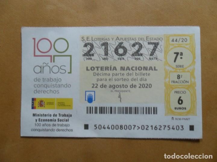 DECIMO - Nº 21627 - 22 AGOSTO 2020 - 44/20 - MINISTERIO DE TRABAJO Y ECONOMIA SOCIAL (Coleccionismo - Lotería Nacional)