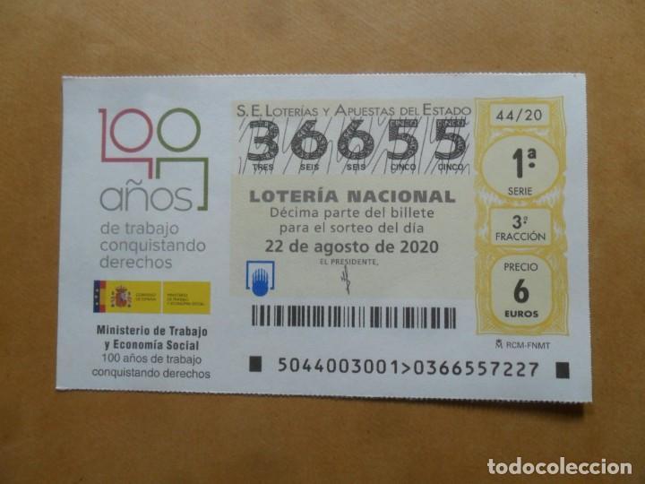 DECIMO - Nº 36655 - 22 AGOSTO 2020 - 44/20 - MINISTERIO DE TRABAJO Y ECONOMIA SOCIAL (Coleccionismo - Lotería Nacional)