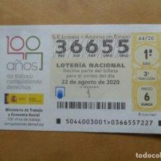 Lotería Nacional: DECIMO - Nº 36655 - 22 AGOSTO 2020 - 44/20 - MINISTERIO DE TRABAJO Y ECONOMIA SOCIAL. Lote 220948137