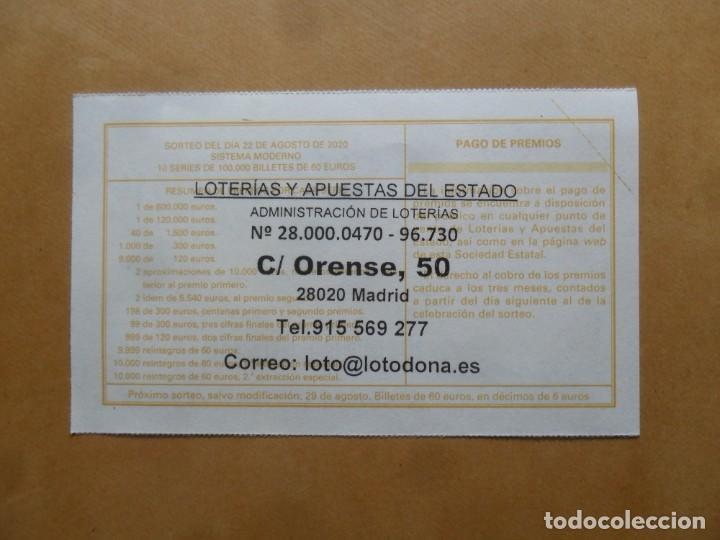 Lotería Nacional: DECIMO - Nº 36655 - 22 AGOSTO 2020 - 44/20 - MINISTERIO DE TRABAJO Y ECONOMIA SOCIAL - Foto 2 - 220948137