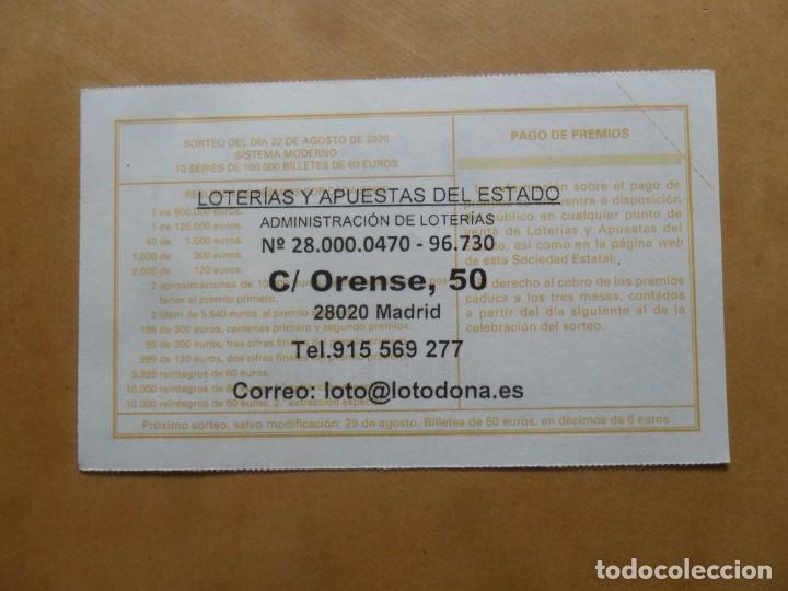 Lotería Nacional: DECIMO - Nº 36655 - 22 AGOSTO 2020 - 44/20 - MINISTERIO DE TRABAJO Y ECONOMIA SOCIAL - Foto 2 - 220948192
