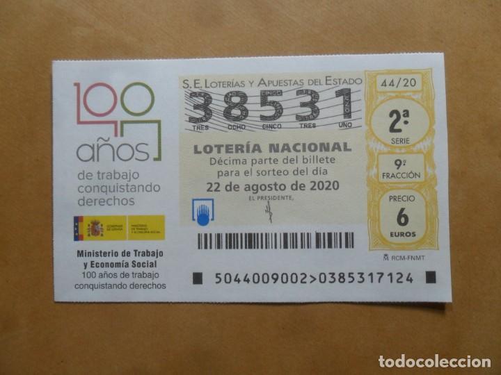 DECIMO - Nº 38531 - 22 AGOSTO 2020 - 44/20 - MINISTERIO DE TRABAJO Y ECONOMIA SOCIAL (Coleccionismo - Lotería Nacional)