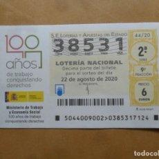 Lotería Nacional: DECIMO - Nº 38531 - 22 AGOSTO 2020 - 44/20 - MINISTERIO DE TRABAJO Y ECONOMIA SOCIAL. Lote 220948226
