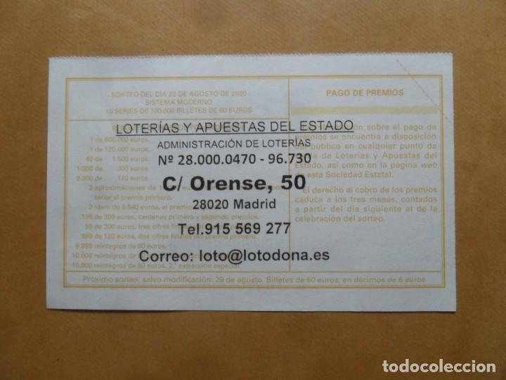 Lotería Nacional: DECIMO - Nº 38531 - 22 AGOSTO 2020 - 44/20 - MINISTERIO DE TRABAJO Y ECONOMIA SOCIAL - Foto 2 - 220948272