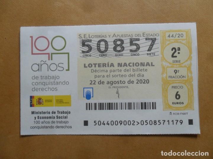 DECIMO - Nº 50857 - 22 AGOSTO 2020 - 44/20 - MINISTERIO DE TRABAJO Y ECONOMIA SOCIAL (Coleccionismo - Lotería Nacional)