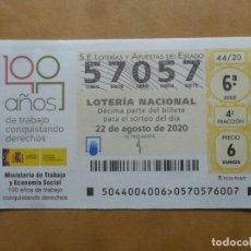 Lotería Nacional: DECIMO - Nº 57057 - 22 AGOSTO 2020 - 44/20 - MINISTERIO DE TRABAJO Y ECONOMIA SOCIAL. Lote 220956995