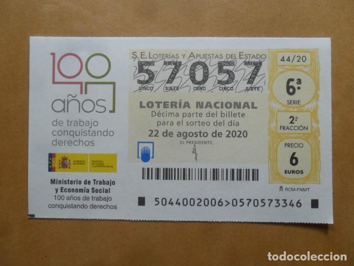 DECIMO - Nº 57057 - 22 AGOSTO 2020 - 44/20 - MINISTERIO DE TRABAJO Y ECONOMIA SOCIAL (Coleccionismo - Lotería Nacional)