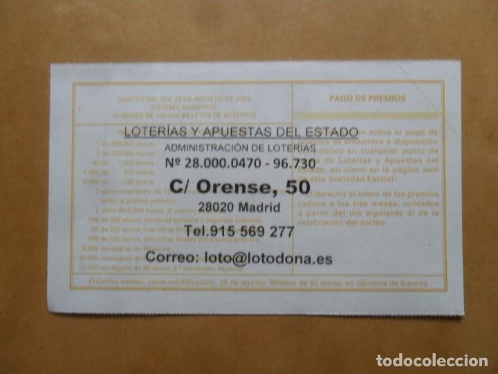 Lotería Nacional: DECIMO - Nº 57057 - 22 AGOSTO 2020 - 44/20 - MINISTERIO DE TRABAJO Y ECONOMIA SOCIAL - Foto 2 - 220957372