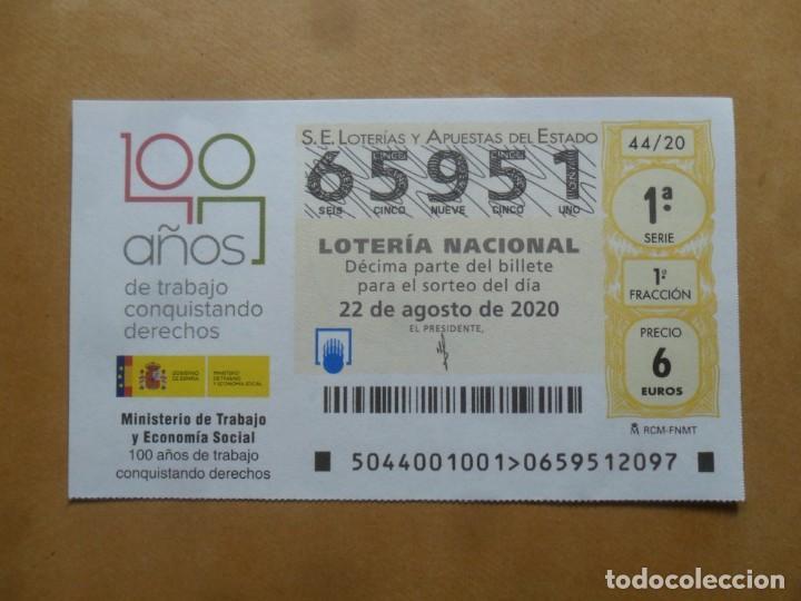 DECIMO - Nº 65951 - 22 AGOSTO 2020 - 44/20 - MINISTERIO DE TRABAJO Y ECONOMIA SOCIAL (Coleccionismo - Lotería Nacional)