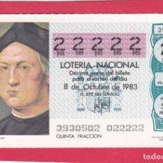 Loterie Nationale: LOTERIA AÑO 1983 SORTEO 39 CINCO 22222 DOSES. Lote 221557147
