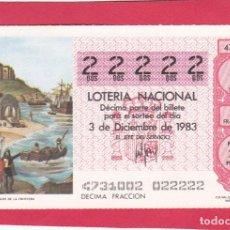 Loterie Nationale: LOTERIA AÑO 1983 SORTEO 47 CINCO 22222 DOSES. Lote 221557220