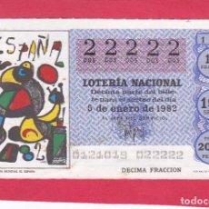 Loterie Nationale: LOTERIA AÑO 1982 SORTEO 1 CINCO 22222 DOSES. Lote 221557376