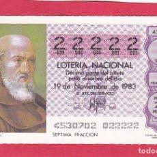 Loterie Nationale: LOTERIA AÑO 1983 SORTEO 45 CINCO 22222 DOSES. Lote 221557452