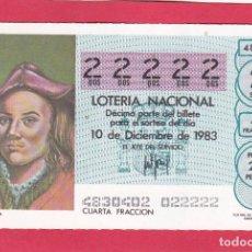 Loterie Nationale: LOTERIA AÑO 1983 SORTEO 48 CINCO 22222 DOSES. Lote 221557592