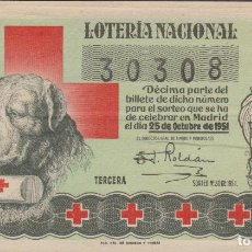 Lotería Nacional: LOTERIA NACIONAL - SORTEO - 30-1951 - SERIE 1ª FRACCIÓN 3ª - BARCELONA. Lote 221731178