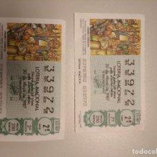 Lotería Nacional: DOS DÉCIMOS DE LOTERÍA. Lote 221750773