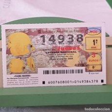 Lotería Nacional: LOTERÍA NACIONAL, JUEVES, SORTEO 7/06, 26 ENERO 2006, PEZ MARIPOSA ENMASCARADO, Nº 14938. Lote 221809847