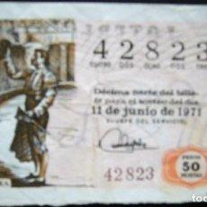 Lotería Nacional: DÉCIMO DE 1971 - NÚMERO 42823. Lote 221840397