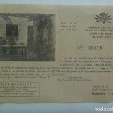 Lotería Nacional: CONGREGACION HNAS. DOCTRINA CRISTIANA: RIFA DE UNA CASA EN CHIPIONA POR LOTERIA NACIONAL. 1957. Lote 221961992