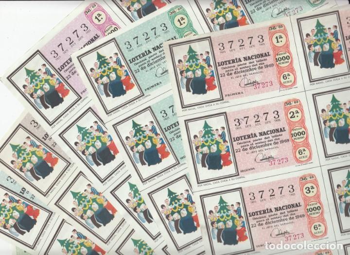 LOTERIA NACIONAL 6 HOJAS ENTERAS DEL NÚMERO CAPICUA 37273 DEL 22 DE DICIEMBRE DE 1969 - VER FOTOS- (Coleccionismo - Lotería Nacional)