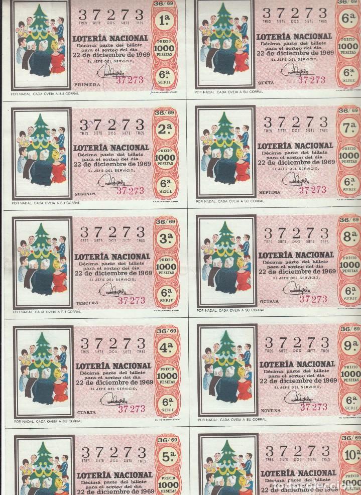Lotería Nacional: LOTERIA NACIONAL 6 HOJAS ENTERAS DEL NÚMERO CAPICUA 37273 DEL 22 DE DICIEMBRE DE 1969 - VER FOTOS- - Foto 2 - 222021890