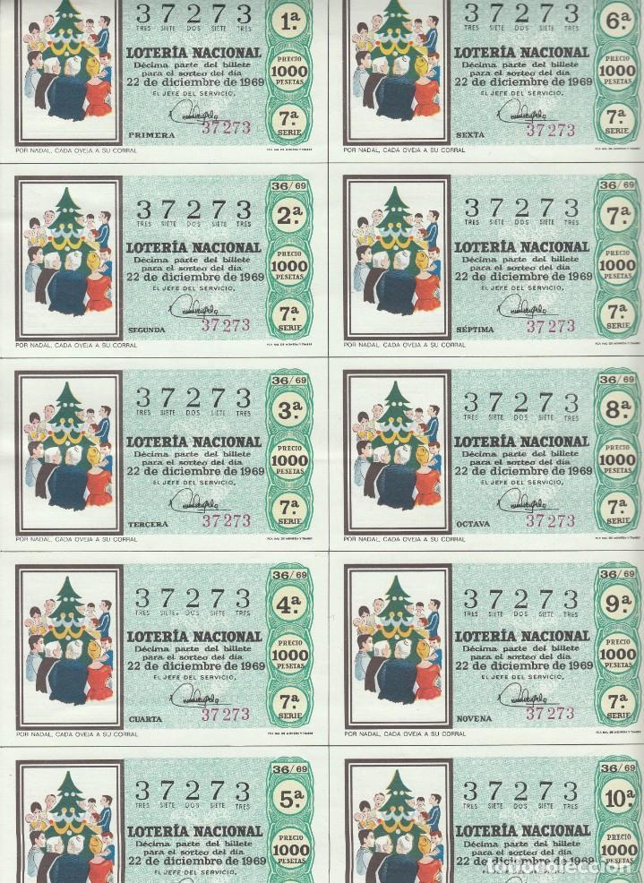 Lotería Nacional: LOTERIA NACIONAL 6 HOJAS ENTERAS DEL NÚMERO CAPICUA 37273 DEL 22 DE DICIEMBRE DE 1969 - VER FOTOS- - Foto 3 - 222021890