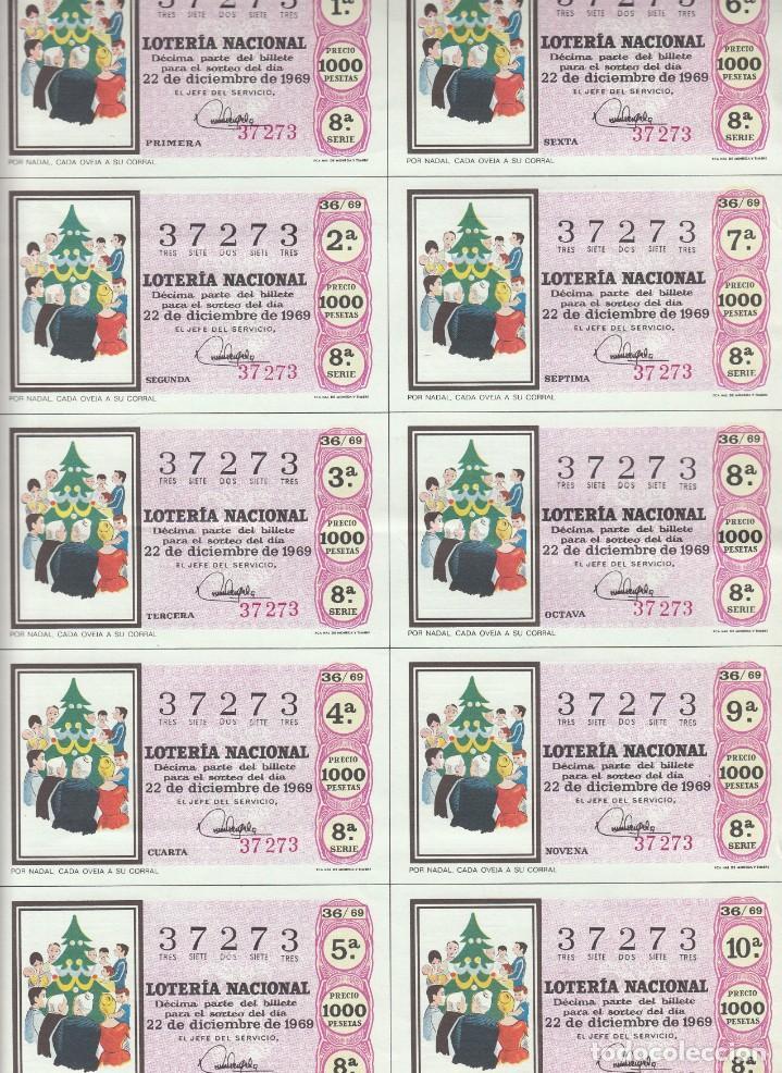 Lotería Nacional: LOTERIA NACIONAL 6 HOJAS ENTERAS DEL NÚMERO CAPICUA 37273 DEL 22 DE DICIEMBRE DE 1969 - VER FOTOS- - Foto 4 - 222021890