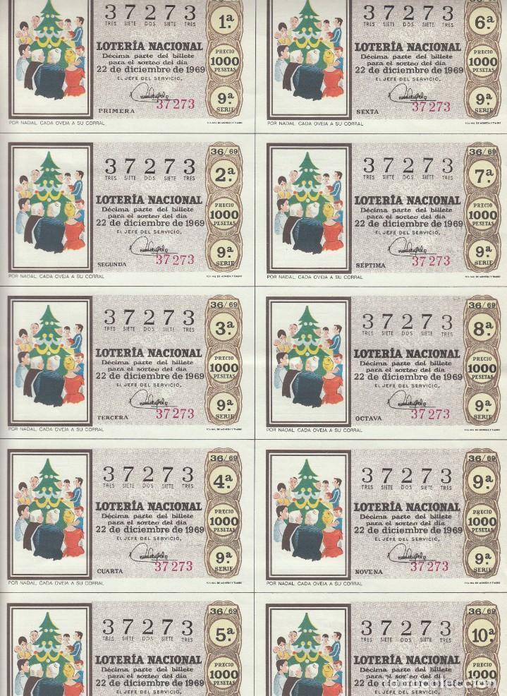 Lotería Nacional: LOTERIA NACIONAL 6 HOJAS ENTERAS DEL NÚMERO CAPICUA 37273 DEL 22 DE DICIEMBRE DE 1969 - VER FOTOS- - Foto 5 - 222021890