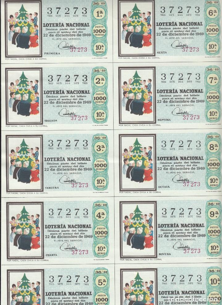 Lotería Nacional: LOTERIA NACIONAL 6 HOJAS ENTERAS DEL NÚMERO CAPICUA 37273 DEL 22 DE DICIEMBRE DE 1969 - VER FOTOS- - Foto 6 - 222021890