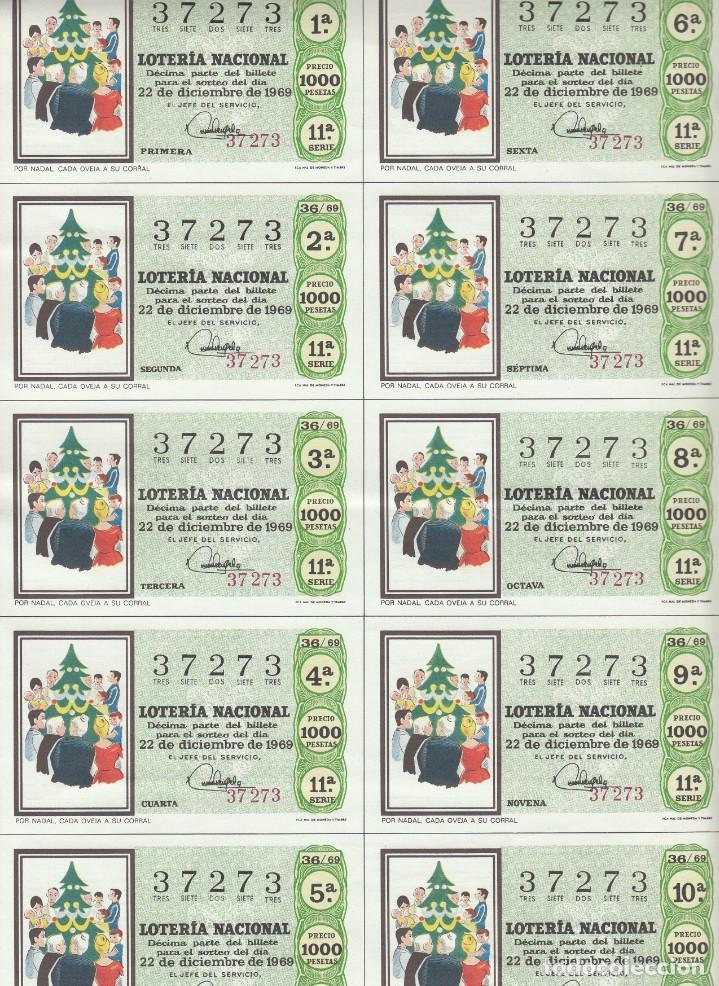 Lotería Nacional: LOTERIA NACIONAL 6 HOJAS ENTERAS DEL NÚMERO CAPICUA 37273 DEL 22 DE DICIEMBRE DE 1969 - VER FOTOS- - Foto 7 - 222021890