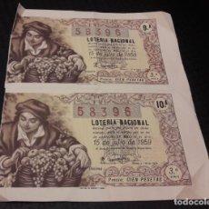 Lotería Nacional: 2 BILLETES DE LOTERIA 19 Nº 58396. Lote 222491296