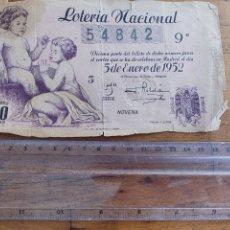 Lotería Nacional: BILLETE DÉCIMO LOTERÍA NACIONAL. SORTEO DEL NIÑO. 5 ENERO 1952. ADMINISTRACIÓN Nº33 BARCELONA. Lote 222507248