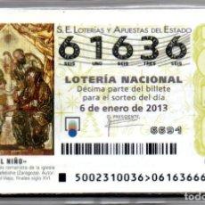 Lotería Nacional: LOTERÍA NACIONAL DEL SÁBADO - AÑO 2013 - AÑO COMPLETO -. Lote 223377051