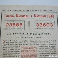 Lotería Nacional: BARCELONA-LOTERIA NACIONAL-NAVIDAD 1940-SANTIAGO PONS PADRO-VER FOTOS-(V-22.371). Lote 223636726