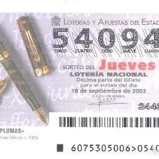 Lotería Nacional: 1 DECIMO LOTERIA JUEVES 18 SEPTIEMBRE 2003 - 75/03 - PLUMAS - BOLIGRAFOS EVERSHARP DORICO C. 1935. Lote 224132650
