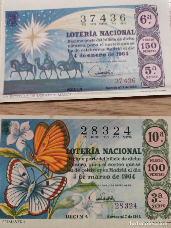 Lotería Nacional: 9 DECIMOS DE DIFERENTES MESES Y ADMINISTRACIÓN DE LOTERIA 1964 - Foto 2 - 224333963