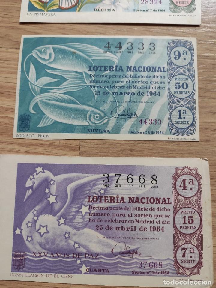 Lotería Nacional: 9 DECIMOS DE DIFERENTES MESES Y ADMINISTRACIÓN DE LOTERIA 1964 - Foto 3 - 224333963