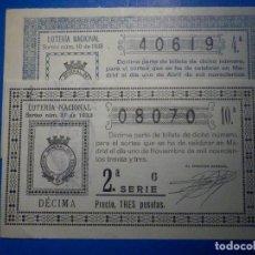 Lotaria Nacional: LOTERÍA NACIONAL - LOTE 2 DÉCIMOS AÑO 1933 - SORTEOS Nº 10 Y 31 - MUY BUEN ESTADO - FOTOS. Lote 224556168