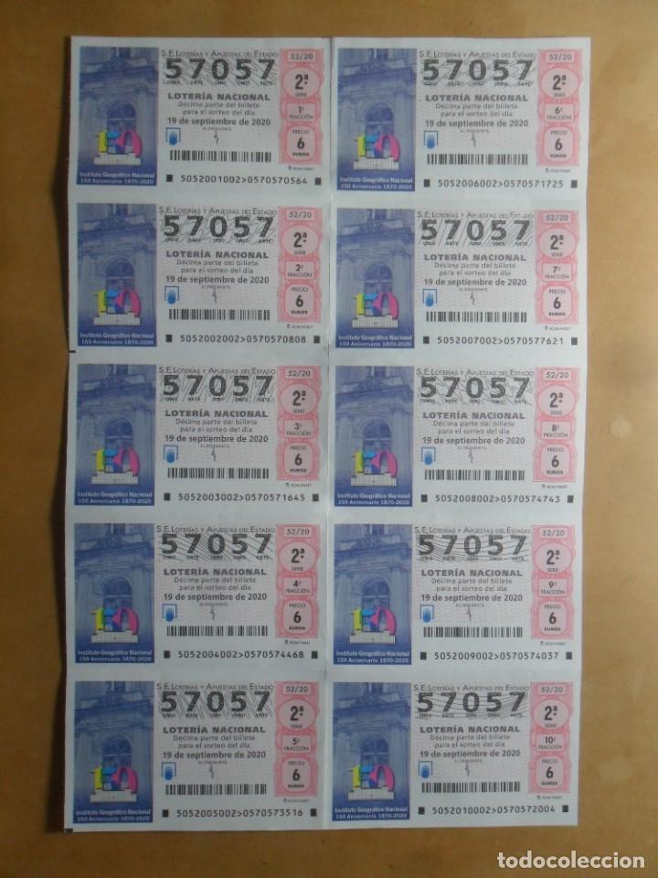 BILLETE COMPLETO - Nº 57057 - 19 SEPTIEMBRE 2020 - 52/20 - INSTITUTO GEOGRAFICO NACIONAL (Coleccionismo - Lotería Nacional)