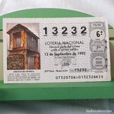 Lotteria Nationale Spagnola: LOTERÍA NACIONAL, SORTEO 63/92, 12 SEPTIEMBRE 1992, MUIÑA, LUGO, Nº 13232. Lote 227204570