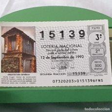 Lotteria Nationale Spagnola: LOTERÍA NACIONAL, SORTEO 63/92, 12 SEPTIEMBRE 1992, MUIÑA, LUGO, Nº 15139. Lote 227204925