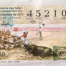 Lotería Nacional: LOTERÍA NACIONAL 45210 3 NOVIEMBRE 1971 SORTEO 34/71. Lote 227756895