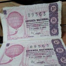 Lotería Nacional: 2 DECIMOS LOTERIA NACIONAL Nº 09563 - SORTEO 5 DE JUNIO 1963 - BOMBO ANTIGUO. Lote 228430130