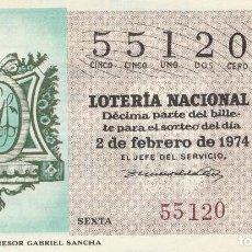 Lotería Nacional: SORTEO Nª 5 1974 1 DECIMO SABADO 2 DE FEBRERO.NUMERO 55120 100 PESETAS. Lote 229174130
