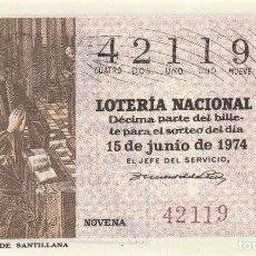 Lotería Nacional: SORTEO Nª 22 1974 1 DECIMO SABADO 15 DE JUNIO NUMERO 42119 100 PESETAS. Lote 229182710