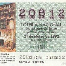 Lotería Nacional: SORTEO Nª 23 1992 SABAD0 21 DE MARZO Nº 20812 1000 PESETAS.ADEMUZ (VALENCIA). Lote 229200400